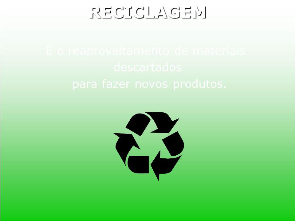 É o reaproveitamento de materiais descartados para fazer novos produtos.RECICLAGEM