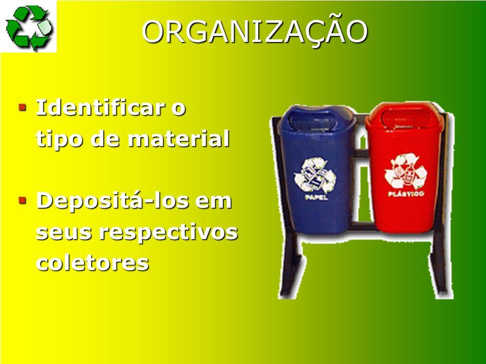 ORGANIZAÇÃO Identificar o tipo de material Identificar o tipo de material Depositá-los em seus respectivos coletores Depositá-los em seus respectivos