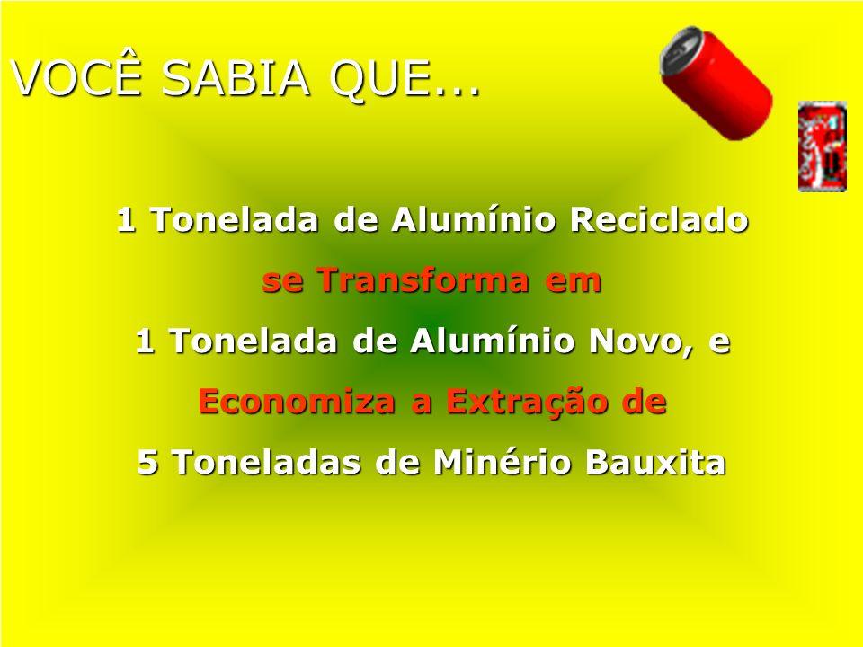 VOCÊ SABIA QUE... 1 Tonelada de Alumínio Reciclado se Transforma em 1 Tonelada de Alumínio Novo, e Economiza a Extração de 5 Toneladas de Minério Baux