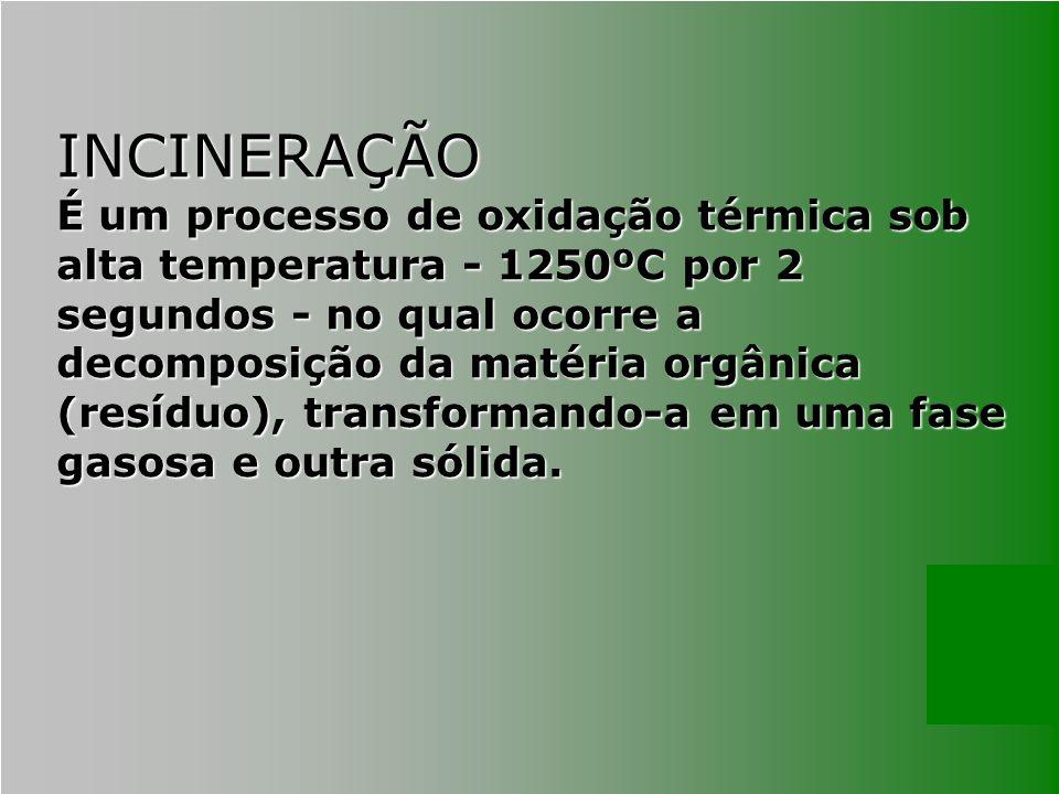 INCINERAÇÃO É um processo de oxidação térmica sob alta temperatura - 1250ºC por 2 segundos - no qual ocorre a decomposição da matéria orgânica (resídu