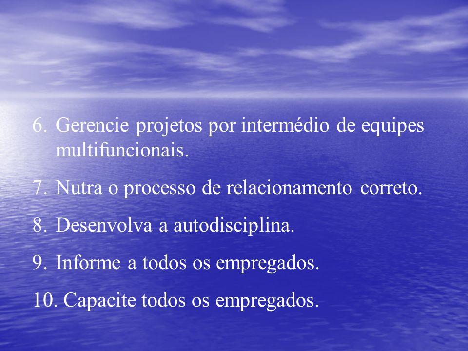 6.Gerencie projetos por intermédio de equipes multifuncionais. 7.Nutra o processo de relacionamento correto. 8.Desenvolva a autodisciplina. 9.Informe