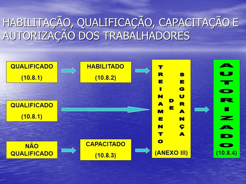 HABILITAÇÃO, QUALIFICAÇÃO, CAPACITAÇÃO E AUTORIZAÇÃO DOS TRABALHADORES QUALIFICADO (10.8.1) HABILITADO (10.8.2) (ANEXO III) NÃO QUALIFICADO CAPACITADO