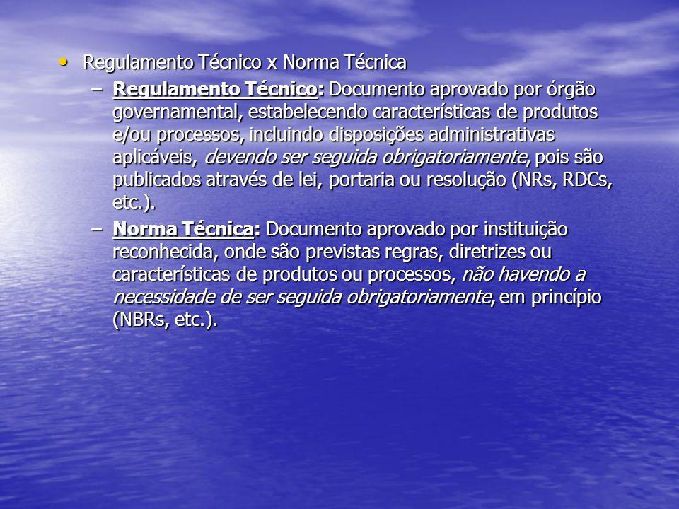 Regulamento Técnico x Norma Técnica Regulamento Técnico x Norma Técnica –Regulamento Técnico: Documento aprovado por órgão governamental, estabelecend