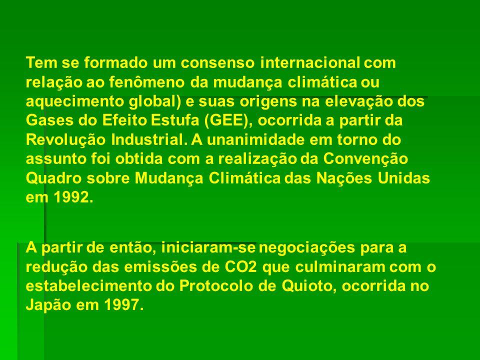 Tem se formado um consenso internacional com relação ao fenômeno da mudança climática ou aquecimento global) e suas origens na elevação dos Gases do E