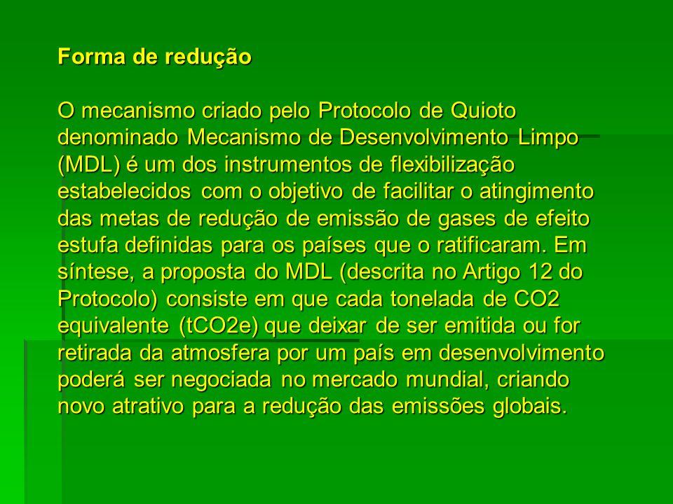 Forma de redução O mecanismo criado pelo Protocolo de Quioto denominado Mecanismo de Desenvolvimento Limpo (MDL) é um dos instrumentos de flexibilizaç