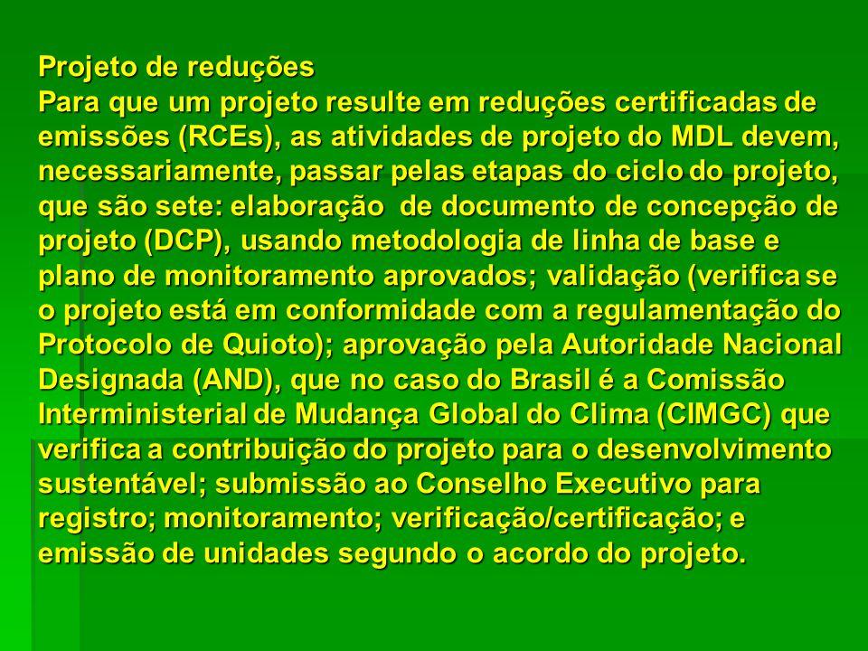 Projeto de reduções Para que um projeto resulte em reduções certificadas de emissões (RCEs), as atividades de projeto do MDL devem, necessariamente, p