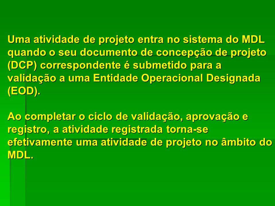 Uma atividade de projeto entra no sistema do MDL quando o seu documento de concepção de projeto (DCP) correspondente é submetido para a validação a um