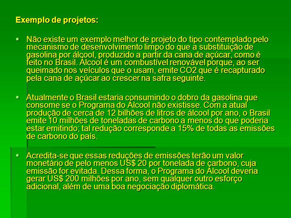 Exemplo de projetos: Não existe um exemplo melhor de projeto do tipo contemplado pelo mecanismo de desenvolvimento limpo do que a substituição de gaso