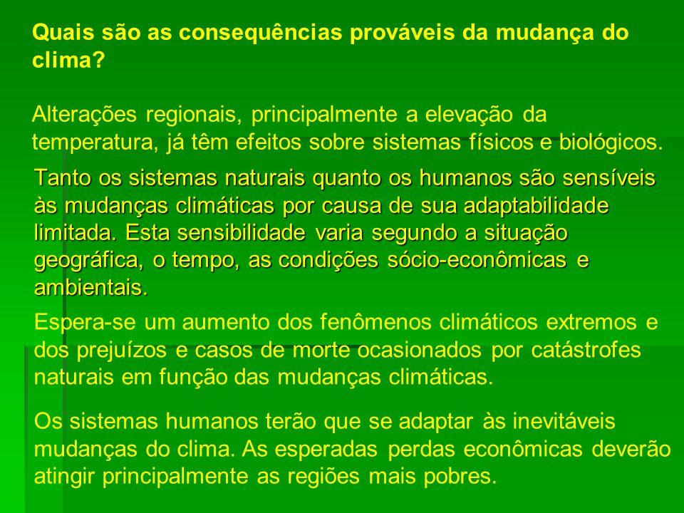 Tanto os sistemas naturais quanto os humanos são sensíveis às mudanças climáticas por causa de sua adaptabilidade limitada. Esta sensibilidade varia s