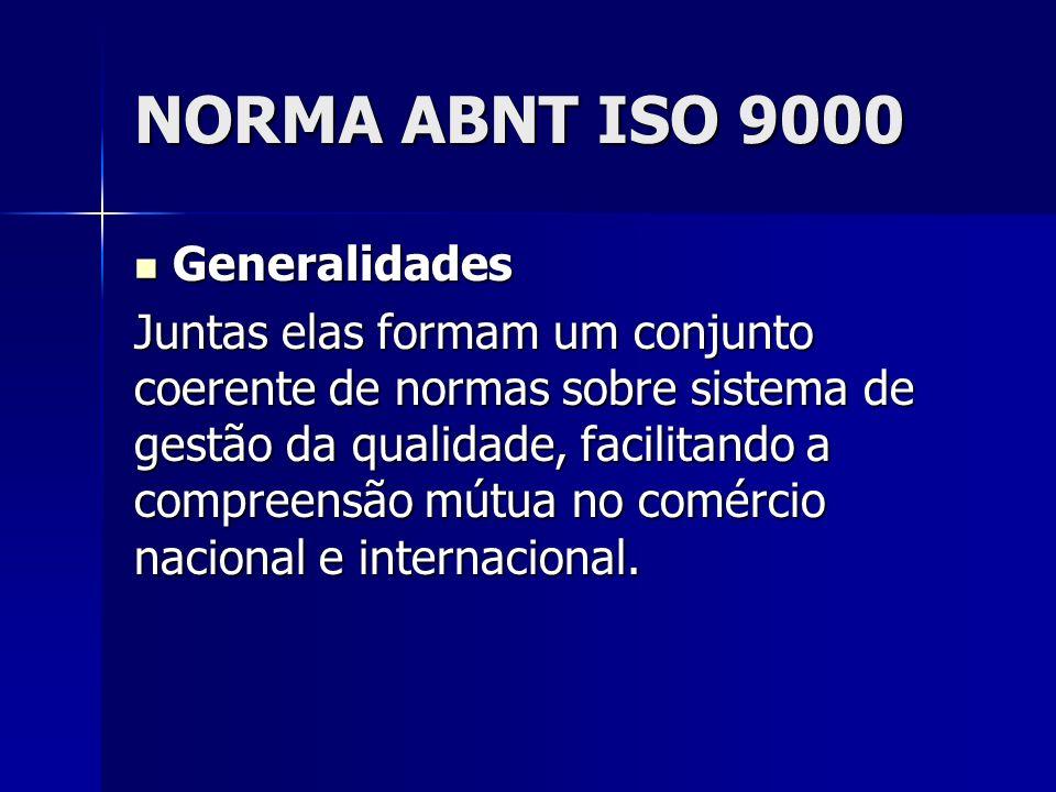 NORMA ABNT ISO 9000 Generalidades Generalidades Juntas elas formam um conjunto coerente de normas sobre sistema de gestão da qualidade, facilitando a compreensão mútua no comércio nacional e internacional.