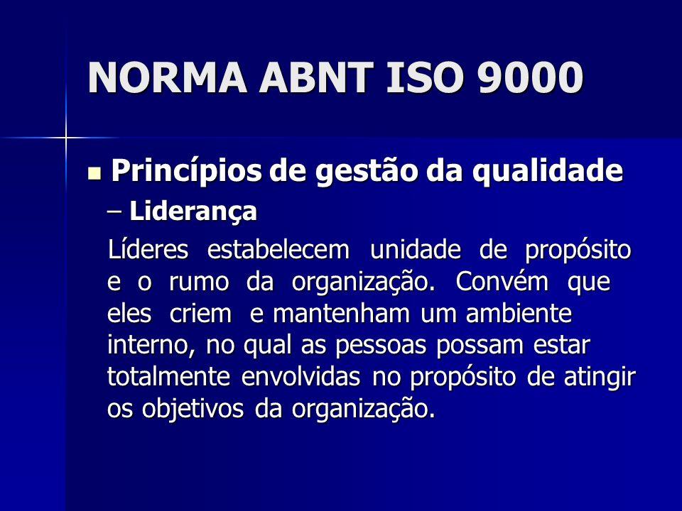NORMA ABNT ISO 9000 Princípios de gestão da qualidade Princípios de gestão da qualidade – Liderança Líderes estabelecem unidade de propósito e o rumo da organização.