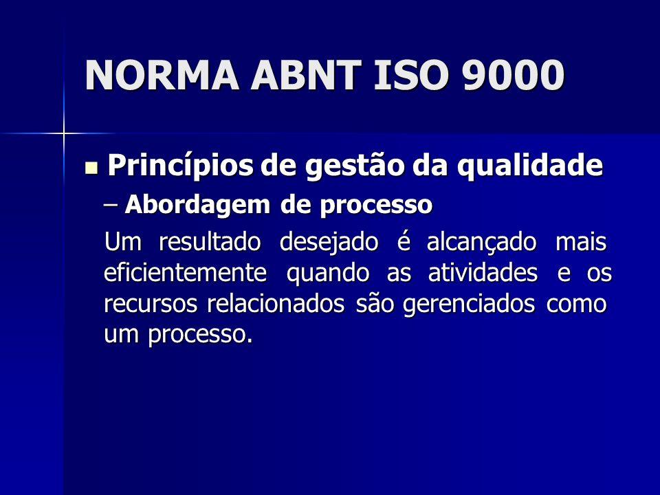 NORMA ABNT ISO 9000 Princípios de gestão da qualidade Princípios de gestão da qualidade – Abordagem de processo Um resultado desejado é alcançado mais eficientemente quando as atividades e os recursos relacionados são gerenciados como um processo.