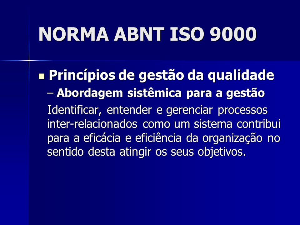 NORMA ABNT ISO 9000 Princípios de gestão da qualidade Princípios de gestão da qualidade – Abordagem sistêmica para a gestão Identificar, entender e gerenciar processos inter-relacionados como um sistema contribui para a eficácia e eficiência da organização no sentido desta atingir os seus objetivos.