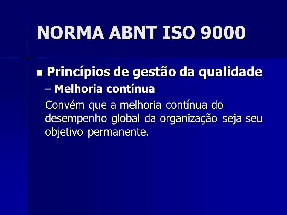 NORMA ABNT ISO 9000 Princípios de gestão da qualidade Princípios de gestão da qualidade – Melhoria contínua Convém que a melhoria contínua do desempenho global da organização seja seu objetivo permanente.