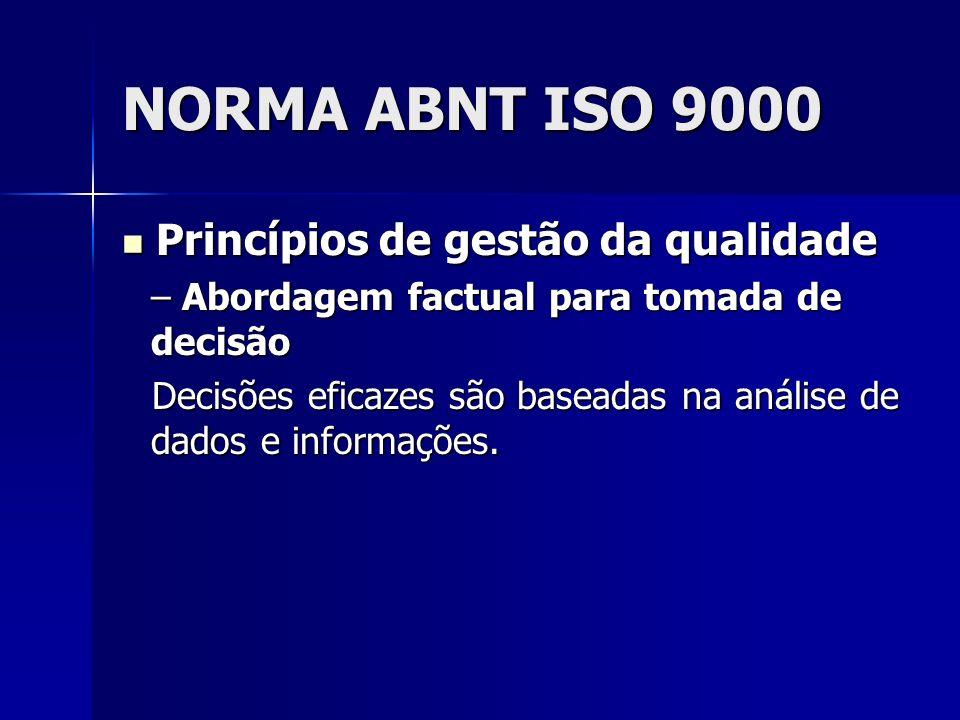NORMA ABNT ISO 9000 Princípios de gestão da qualidade Princípios de gestão da qualidade – Abordagem factual para tomada de decisão Decisões eficazes são baseadas na análise de dados e informações.