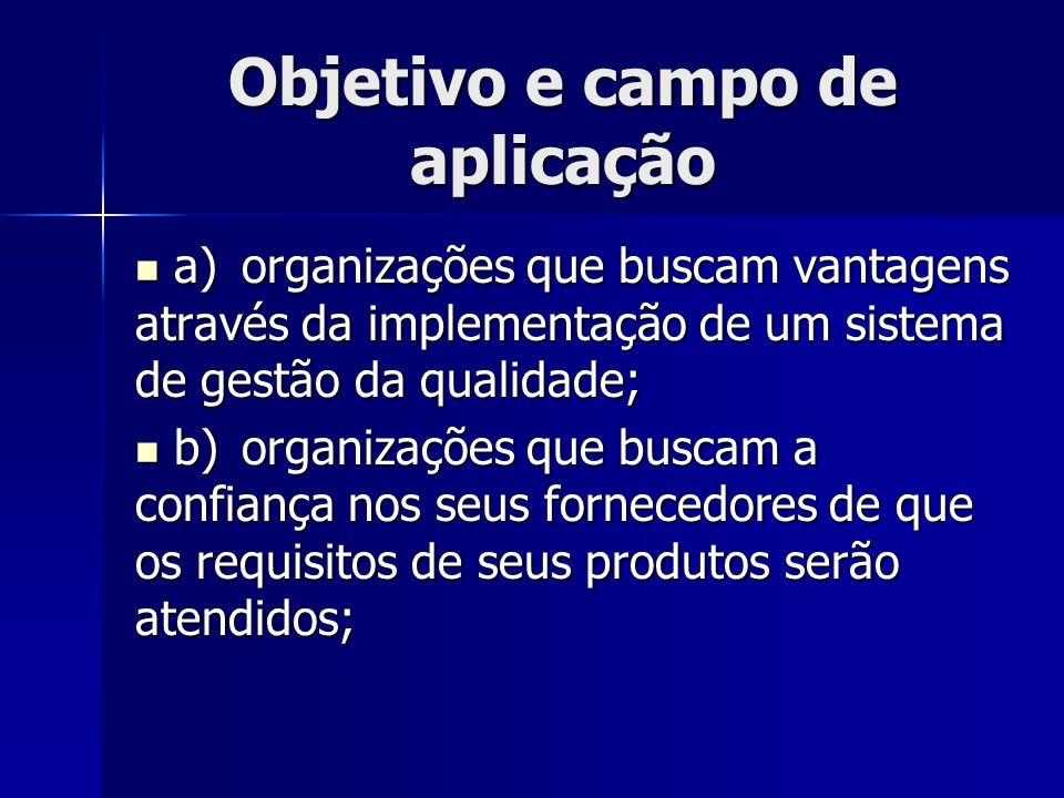 Objetivo e campo de aplicação a)organizações que buscam vantagens através da implementação de um sistema de gestão da qualidade; a)organizações que bu