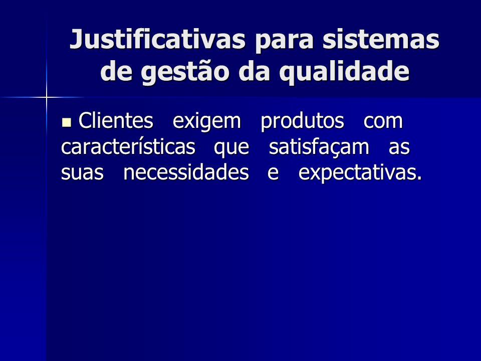 Justificativas para sistemas de gestão da qualidade Clientes exigem produtos com características que satisfaçam as suas necessidades e expectativas.