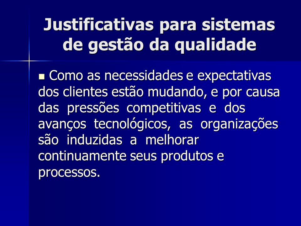 Justificativas para sistemas de gestão da qualidade Como as necessidades e expectativas dos clientes estão mudando, e por causa das pressões competiti