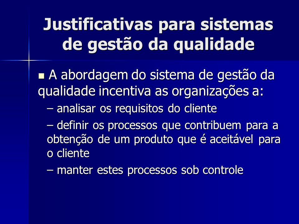 Justificativas para sistemas de gestão da qualidade A abordagem do sistema de gestão da qualidade incentiva as organizações a: A abordagem do sistema