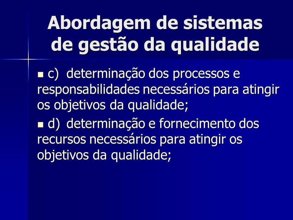 Abordagem de sistemas de gestão da qualidade c)determinação dos processos e responsabilidades necessários para atingir os objetivos da qualidade; c)de