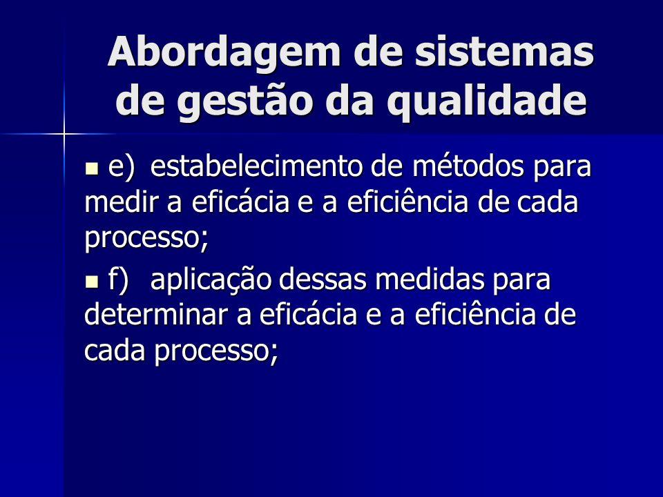 Abordagem de sistemas de gestão da qualidade e)estabelecimento de métodos para medir a eficácia e a eficiência de cada processo; e)estabelecimento de métodos para medir a eficácia e a eficiência de cada processo; f)aplicação dessas medidas para determinar a eficácia e a eficiência de cada processo; f)aplicação dessas medidas para determinar a eficácia e a eficiência de cada processo;