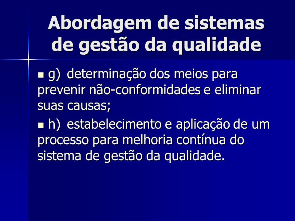 Abordagem de sistemas de gestão da qualidade g)determinação dos meios para prevenir não-conformidades e eliminar suas causas; g)determinação dos meios