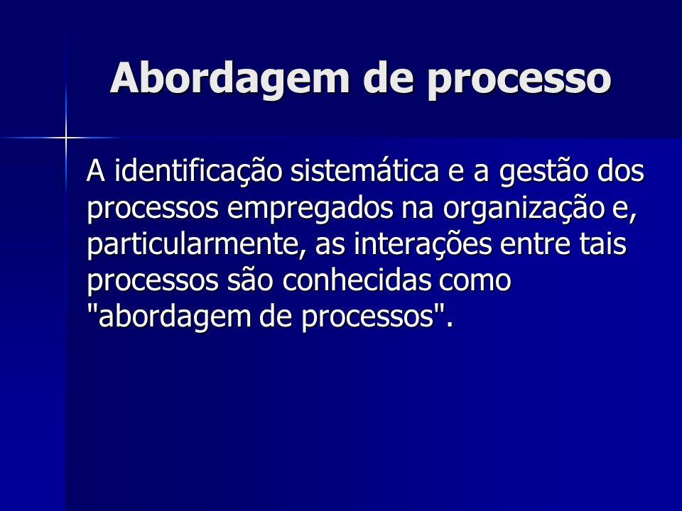 Abordagem de processo A identificação sistemática e a gestão dos processos empregados na organização e, particularmente, as interações entre tais processos são conhecidas como abordagem de processos .