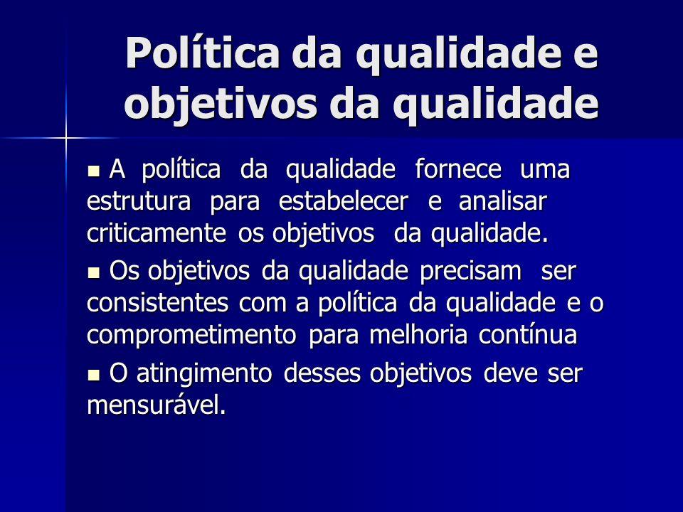 Política da qualidade e objetivos da qualidade A política da qualidade fornece uma estrutura para estabelecer e analisar criticamente os objetivos da