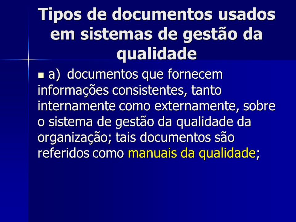 Tipos de documentos usados em sistemas de gestão da qualidade a)documentos que fornecem informações consistentes, tanto internamente como externamente