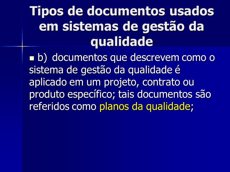 Tipos de documentos usados em sistemas de gestão da qualidade b)documentos que descrevem como o sistema de gestão da qualidade é aplicado em um projet