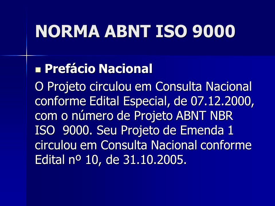 NORMA ABNT ISO 9000 Prefácio Nacional Prefácio Nacional O Projeto circulou em Consulta Nacional conforme Edital Especial, de 07.12.2000, com o número