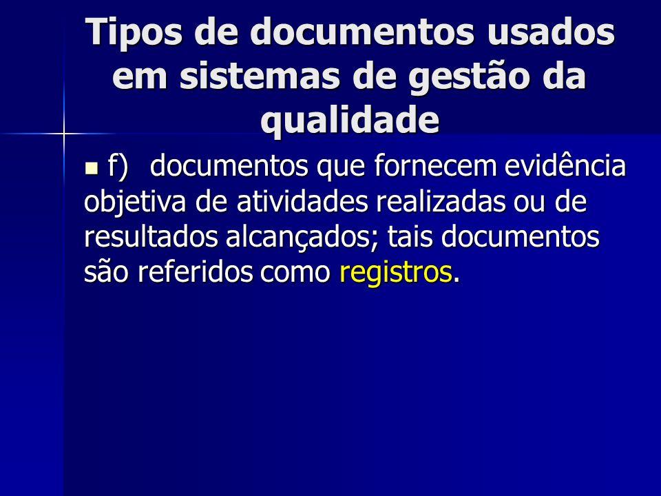Tipos de documentos usados em sistemas de gestão da qualidade f)documentos que fornecem evidência objetiva de atividades realizadas ou de resultados alcançados; tais documentos são referidos como registros.