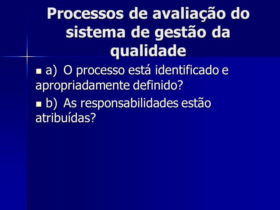 Processos de avaliação do sistema de gestão da qualidade a)O processo está identificado e apropriadamente definido? a)O processo está identificado e a