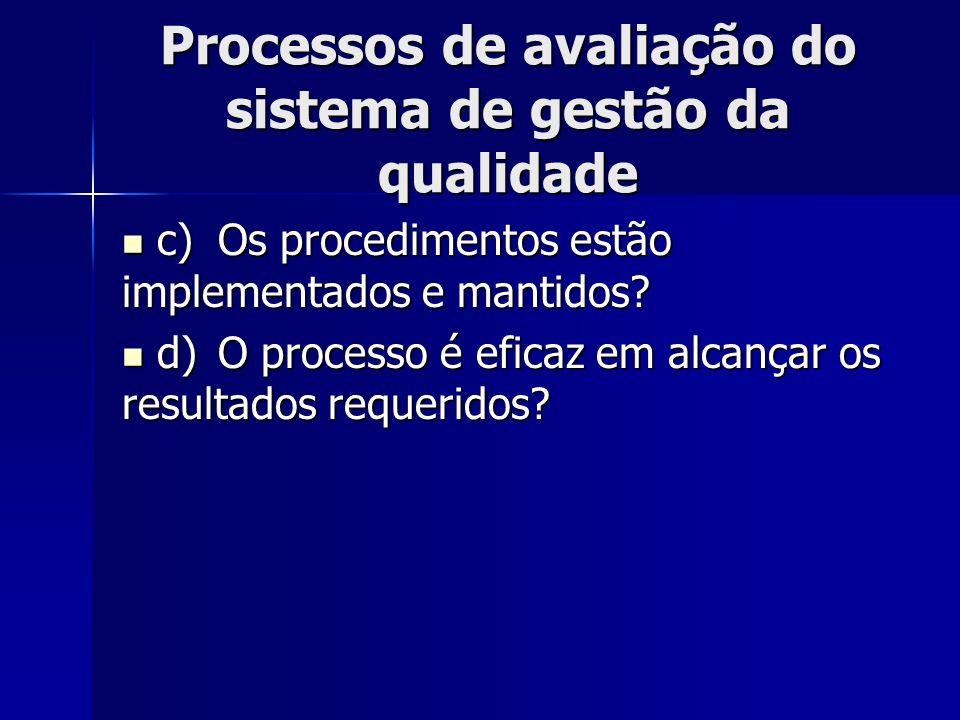 Processos de avaliação do sistema de gestão da qualidade c)Os procedimentos estão implementados e mantidos? c)Os procedimentos estão implementados e m