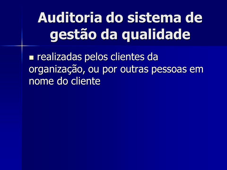 Auditoria do sistema de gestão da qualidade realizadas pelos clientes da organização, ou por outras pessoas em nome do cliente realizadas pelos clientes da organização, ou por outras pessoas em nome do cliente
