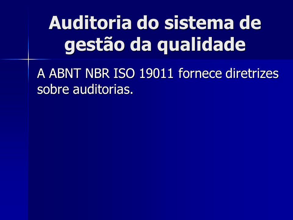 Auditoria do sistema de gestão da qualidade A ABNT NBR ISO 19011 fornece diretrizes sobre auditorias.