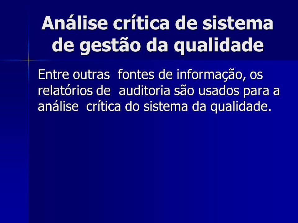 Análise crítica de sistema de gestão da qualidade Entre outras fontes de informação, os relatórios de auditoria são usados para a análise crítica do sistema da qualidade.