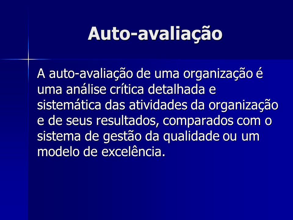 Auto-avaliação A auto-avaliação de uma organização é uma análise crítica detalhada e sistemática das atividades da organização e de seus resultados, c