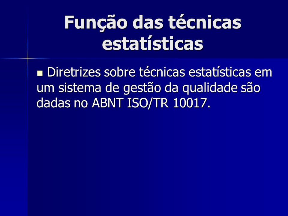 Função das técnicas estatísticas Diretrizes sobre técnicas estatísticas em um sistema de gestão da qualidade são dadas no ABNT ISO/TR 10017. Diretrize