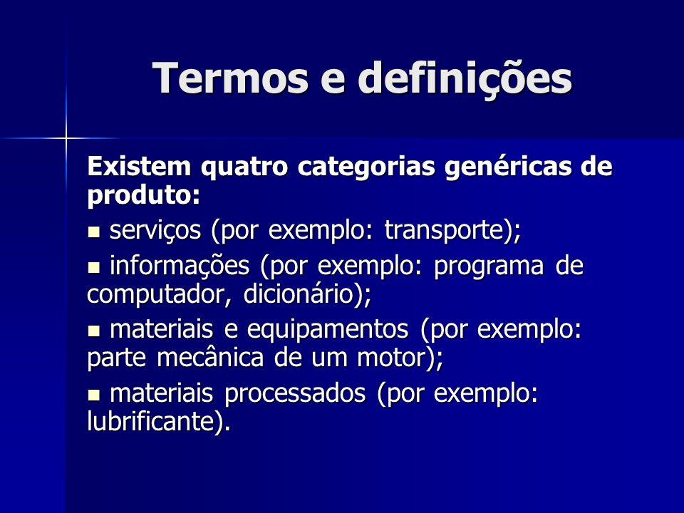 Termos e definições Existem quatro categorias genéricas de produto: serviços (por exemplo: transporte); serviços (por exemplo: transporte); informações (por exemplo: programa de computador, dicionário); informações (por exemplo: programa de computador, dicionário); materiais e equipamentos (por exemplo: parte mecânica de um motor); materiais e equipamentos (por exemplo: parte mecânica de um motor); materiais processados (por exemplo: lubrificante).