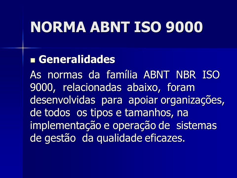 NORMA ABNT ISO 9000 Generalidades Generalidades As normas da família ABNT NBR ISO 9000, relacionadas abaixo, foram desenvolvidas para apoiar organizaç