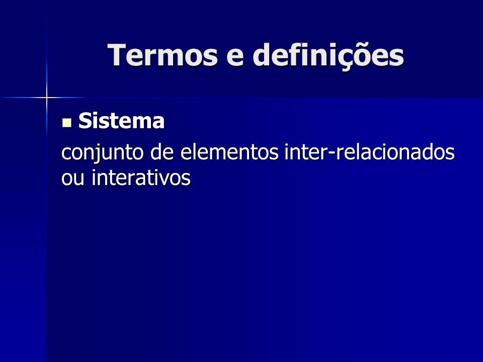 Termos e definições Sistema Sistema conjunto de elementos inter-relacionados ou interativos