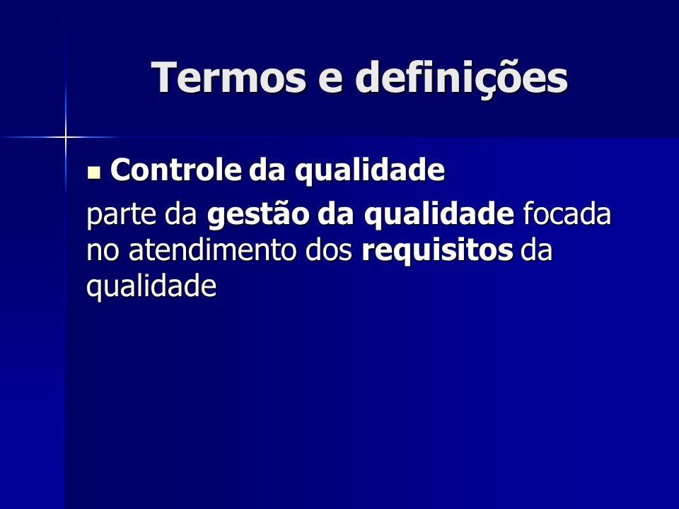 Termos e definições Controle da qualidade Controle da qualidade parte da gestão da qualidade focada no atendimento dos requisitos da qualidade