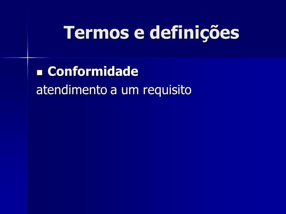 Termos e definições Conformidade Conformidade atendimento a um requisito