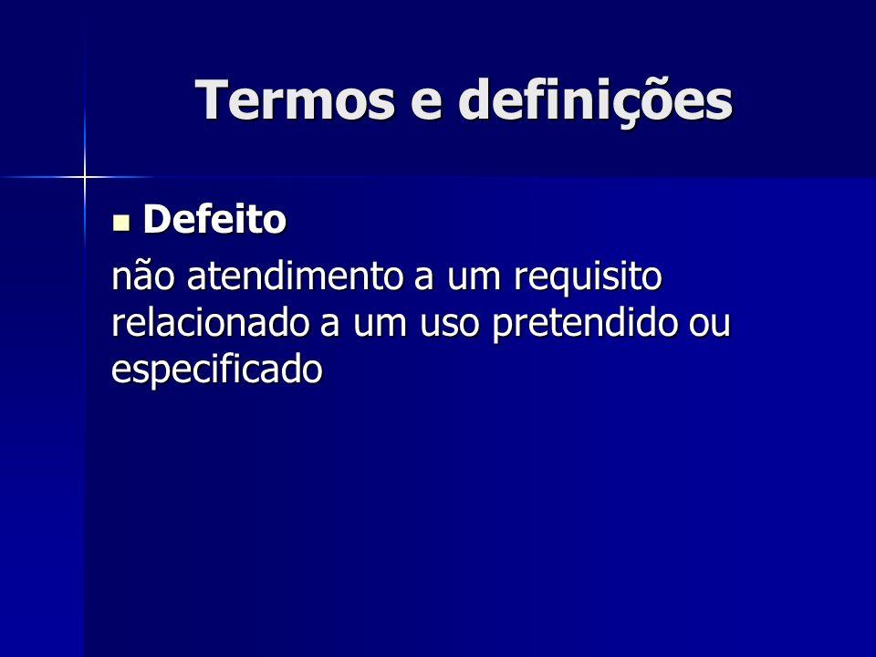 Termos e definições Defeito Defeito não atendimento a um requisito relacionado a um uso pretendido ou especificado