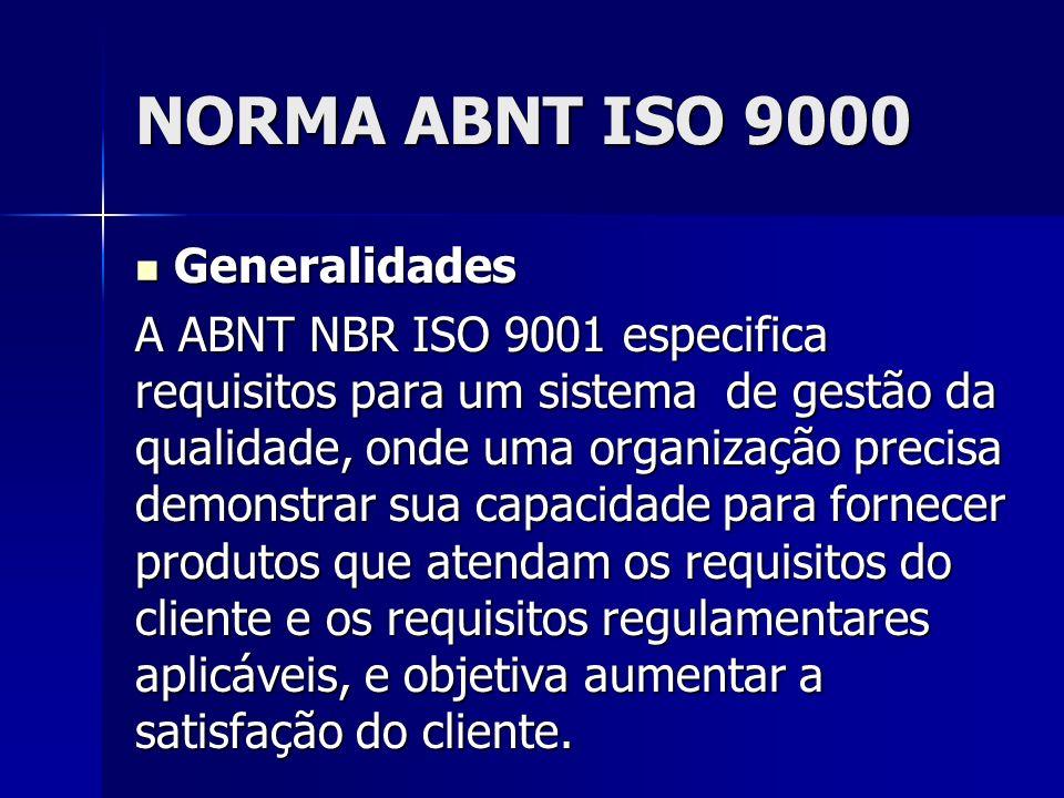 NORMA ABNT ISO 9000 Generalidades Generalidades A ABNT NBR ISO 9001 especifica requisitos para um sistema de gestão da qualidade, onde uma organização