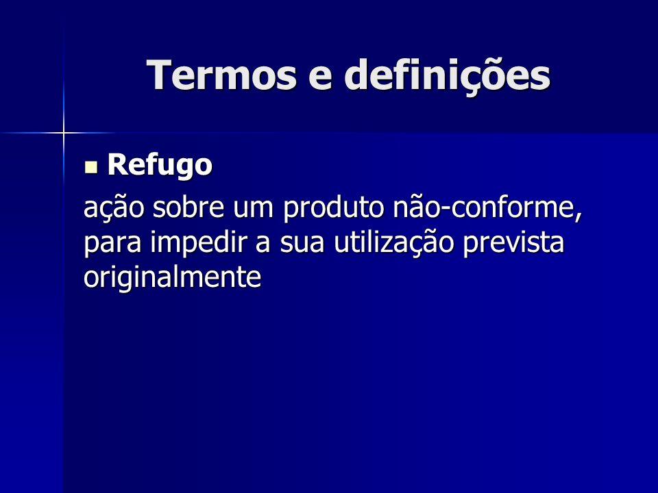 Termos e definições Refugo Refugo ação sobre um produto não-conforme, para impedir a sua utilização prevista originalmente
