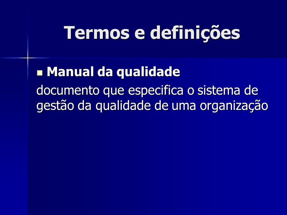Termos e definições Manual da qualidade Manual da qualidade documento que especifica o sistema de gestão da qualidade de uma organização
