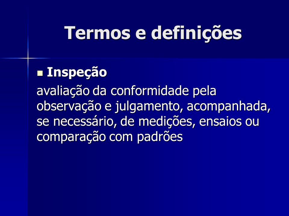Termos e definições Inspeção Inspeção avaliação da conformidade pela observação e julgamento, acompanhada, se necessário, de medições, ensaios ou comparação com padrões