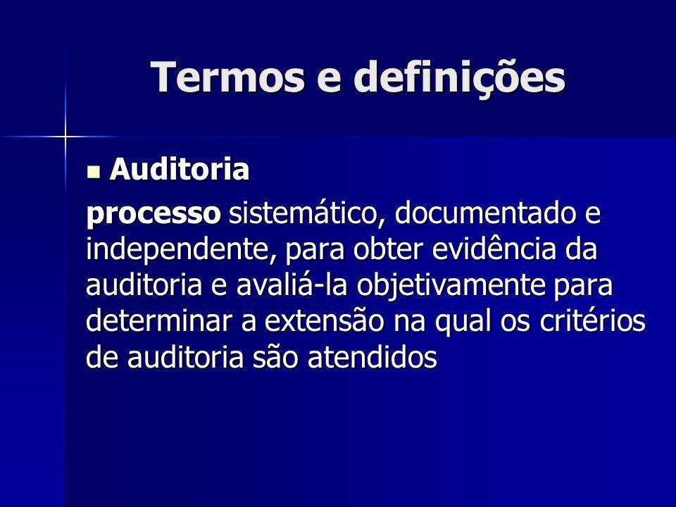 Termos e definições Auditoria Auditoria processo sistemático, documentado e independente, para obter evidência da auditoria e avaliá-la objetivamente para determinar a extensão na qual os critérios de auditoria são atendidos